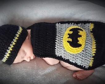 Newborn Baby Batman Crochet Photo Prop