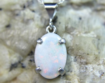 OPAL Free USA Shipping! Genuine Solid White Australian Coober Pedy Opal .925 Sterling Silver Solitaite Ring