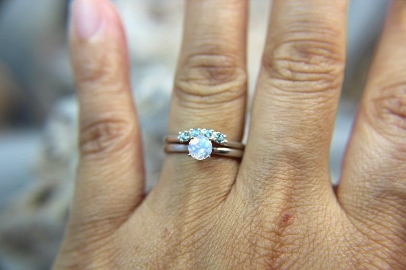 .925 Sterling Silver! MOONSTONE Faceted Rainbow Moonstone Engagement and Swiss Blue Topaz Wedding Ring Set