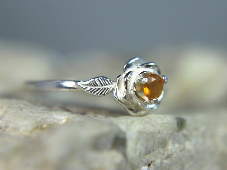 OPAL October Birthstone! Fiery Orange Mexican Fire Opal Birthstone or Pinky .925 Sterling Silver Flower Ring