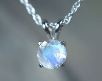 MOONSTONE - Rainbow Faceted Moonstone Sterling Silver Necklace! - Free USA Shipping!