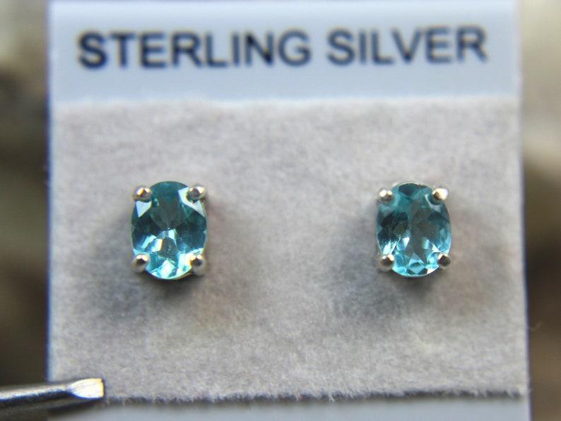0.72 carats! Genuine Neon Blue Apatite .925 Sterling Silver Petite Stud Earrings APATITE