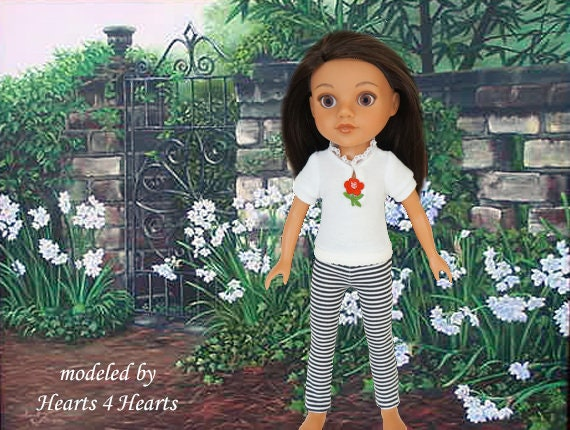 a72bcbecb2922 14 inch doll clothes, doll leggings, doll shirt, Corolle les Cheries,  Hearts 4 Hearts, 14 in doll shirt, 14 in doll outfit