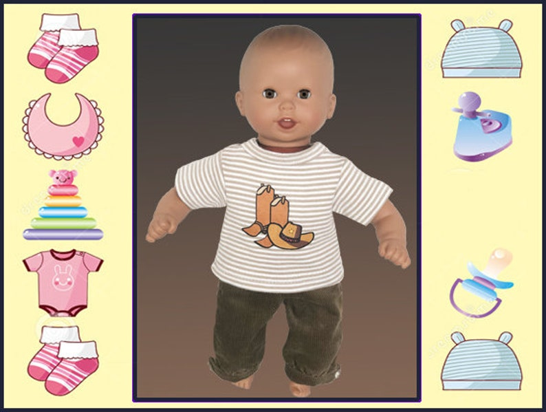 12 In Baby Doll Clothes Brown Cowboy Shirt Pants Melissa And Doug Mine To Love 12 Corolle Mon Premier Corolle 12 In Tido And Calin