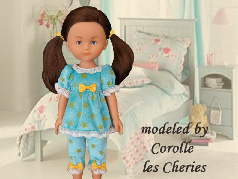 47b2afecee2d3 Corolle les Cheries, 14 inch doll clothes, pajamas, pjs, shortie pjs,  Hearts 4 Hearts doll, Paola Reina Las Amigas, Corolle sleepwear