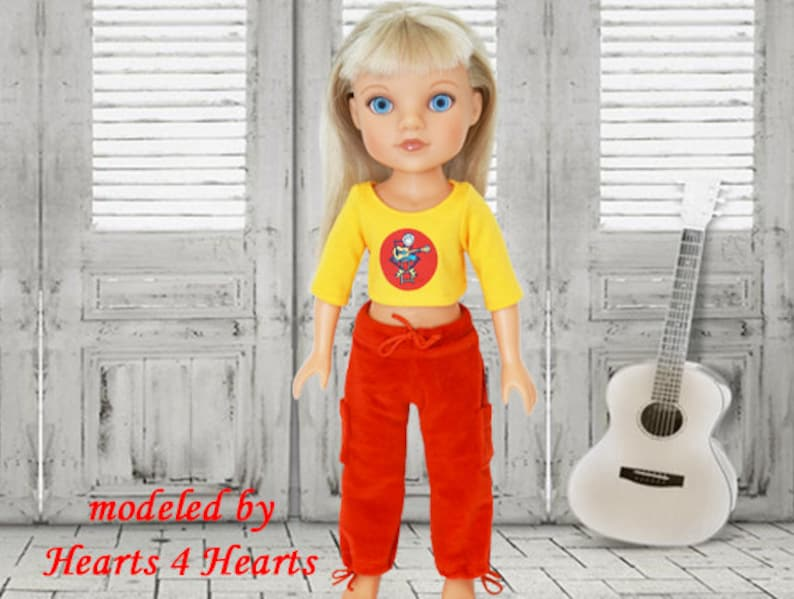 71b427bd34518 Corolle les cheries doll clothes, Hearts 4 Hearts doll, 14 inch doll pants  and tee shirt,Hearts for Hearts, doll workout pants, doll t shirt