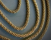 Antique 14K SOLID Yellow GOLD Woven Muff Chain 56 inches long 14K Solid Gold Dog Clip Victorian c. 1890 - 1910 OOAK