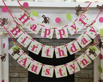 Safari Birthday Decorations Monkey 1st Birthday Decorations 2nd 3rd 4th Jungle Birthday Party Garland Custom Colors