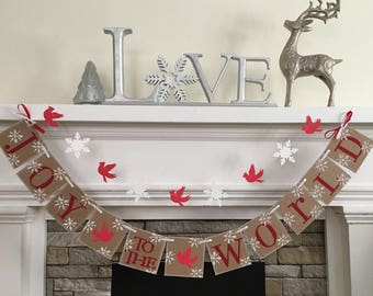 Christmas Decoration Joy To The World Banner and Garland Holiday Decoration Sign With Red Cardinals and Snowflakes garland