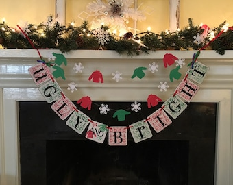 ugly sweater party banner ugly and bright banner christmas party decorations holiday party decorations ugly sweater party decoration garland - Ugly Christmas Decorations