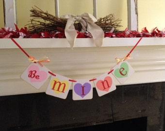 Valentine Decoration Valentines Day banner Be Mine banner Conversation Hearts banner Garland Happy Valentines Day