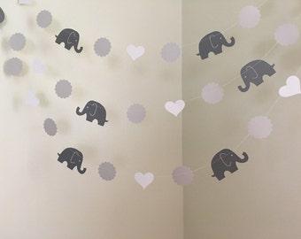Gray Elephant Baby Shower Decorations Elephant Garland Elephant Nursery Decoration Elephant Birthday Decoration Custom Colors 10ft