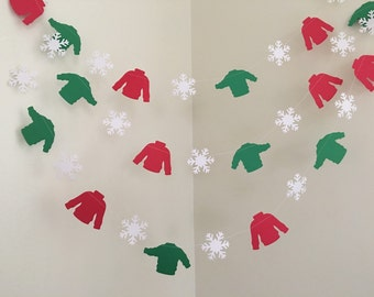 UGLY SWEATER Party Garland Ugly Sweater Garland Christmas Party Decorations Holiday Party Decorations Ugly Sweater Party Decoration Garland