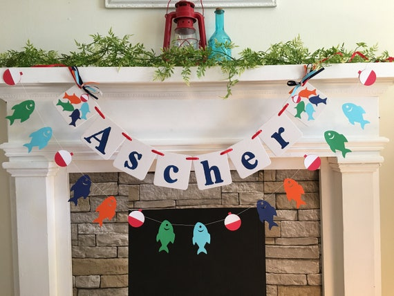 Fish Birthday Decorations Child S Name Banner Gone Fishing Etsy
