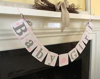 BABY Shower Decorations Polka Dots Elephant Baby Girl Banner Baby Shower Banner Elephant Nursery Decor It's A Girl Boy You Custom Colors