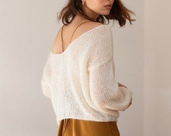 Knit Mohair Sweater, Delicate Deep V Neck Pullover, Loose Oversize Fit, Slouchy Balloon Sleeves, Luxurious Super Soft Kid Mohair