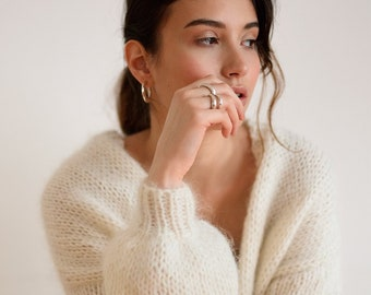 Mohair Bomber Cardigan, Off White Hand Knit, Chunky Knit Cardigan, Balloon Sleeves, Soft Kid Mohair, Open Front Cardigan, Slouchy Cardigan