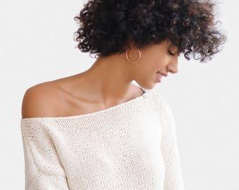 Oversized Sweater, Boxy Knit Sweater, One Shoulder Sweater, Hand Knit Sweater, Open Shoulder Top, Off Shoulder Sweater, Hand Knitted Top