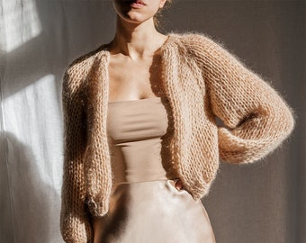 Airy Mohair Bomber — Hand Knit Mohair Cardigan, Raglan Balloon Sleeves,  Loose Knit Soft Mohair, Luxurious Lightweight Open Front Cardigan