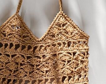 READY TO SHIP / Crochet Raffia Tote Bag in Tan, Summer Tote Bag, Straw Mesh Bag, Handcrafted Tote, Crochet Handbag — Anemone Tote