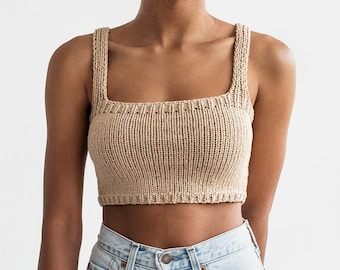 Square Neck Crop Top, Minimal Knit Top, Cropped Yoga Top, Hand Knit, Square Neckline,Sports Knit Bra, Fitted Cotton Bralette in Light Wheat
