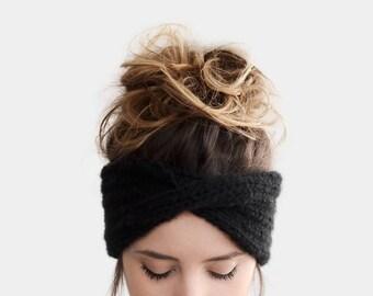 Hand Knit Turban in Black, Chunky Rib Turban, Warm Womens Turband, Custom Color Turban, Winter Headband