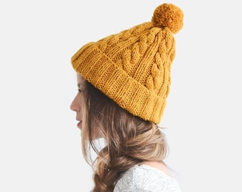 0aada4ce007e60 READY TO SHIP / Hand Knit Beanie in Mustard Yellow, Cable Knit Womens  Winter Hat with Pom Pom, Unisex Ski Hat, Mens Wool Hat, Mustard Beanie