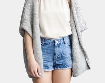 Knit Kimono Cardigan, Short Sleeve Cardigan, Grey Kimono Jacket, Oversize Kimono, Loose Fit Sweater Jacket, Minimal Chic