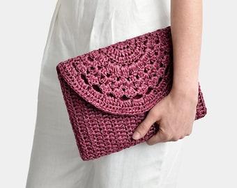 Crochet Raffia Clutch Bag, Crochet Lace Clutch, Straw Summer Bag, Raffia Clutch Handbag, Plum Red Crochet Summer Bag, Crochet Straw Clutch