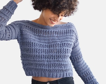 Hand Knit Sweater in Dark Denim, Open Stitch Pullover, Crop Top Sweater, Made to Measure Top, Wool Knit Top, Womens Sweaters, Chunky Sweater