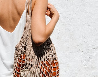 Crochet Market Bag, Beige Cotton Net Bag, French Market Bag, Handmade Eco Tote, Mesh Bag, Quality Shopping Bag, Groceries Farmers Bag