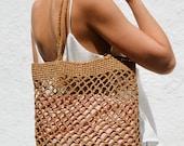 Raffia Net Bag, Crochet Raffia Tote, Summer Tote Bag, Straw Mesh Bag, Handcrafted Tote, Net Shoulder Bag
