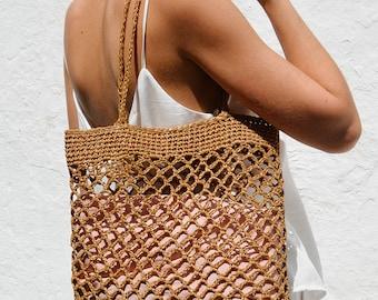 Raffia Net Bag in Tan, Crochet Raffia Tote, Summer Tote Bag, Straw Mesh Bag, Handcrafted Tote, Net Shoulder Bag — The Raffia Net Bag