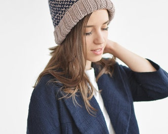 Fair Isle Beanie with Pom Pom Hand Knit Hat in Lavender    9690e876b290