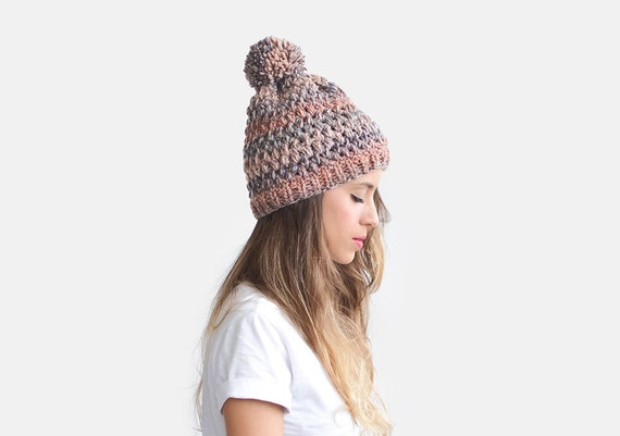 ad8d1bd6deb Crochet Beanie Hat Chunky Knit Hat Womens Slouchy Hat Wool