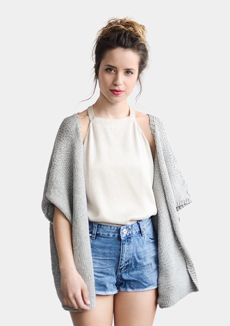 38ff82c5de Knit Kimono Cardigan Short Sleeve Cardigan Grey Kimono