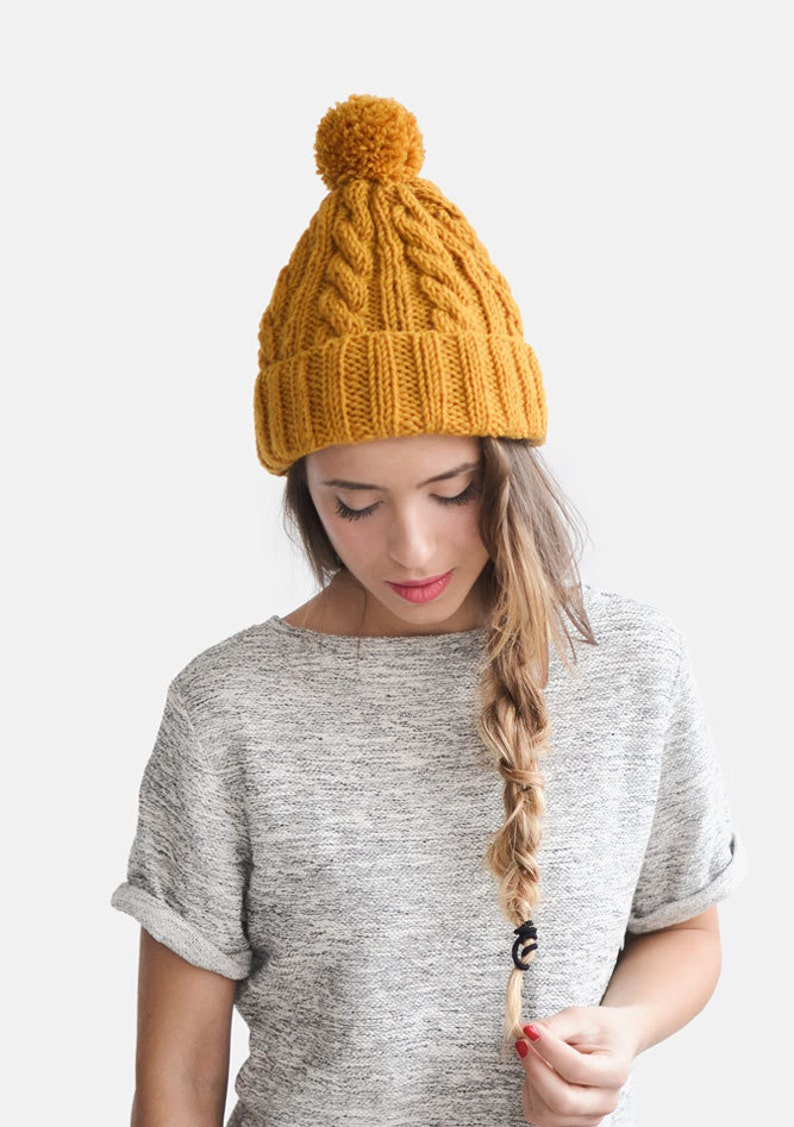 6d13a828dfcee Hand Knit Beanie in Mustard Yellow Cable Knit Womens Winter
