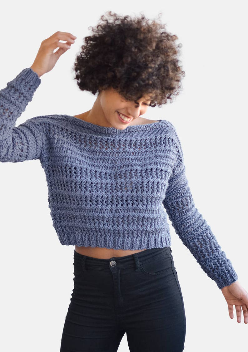f5058f97bb21 Hand Knit Sweater in Dark Denim Open Stitch Pullover Crop