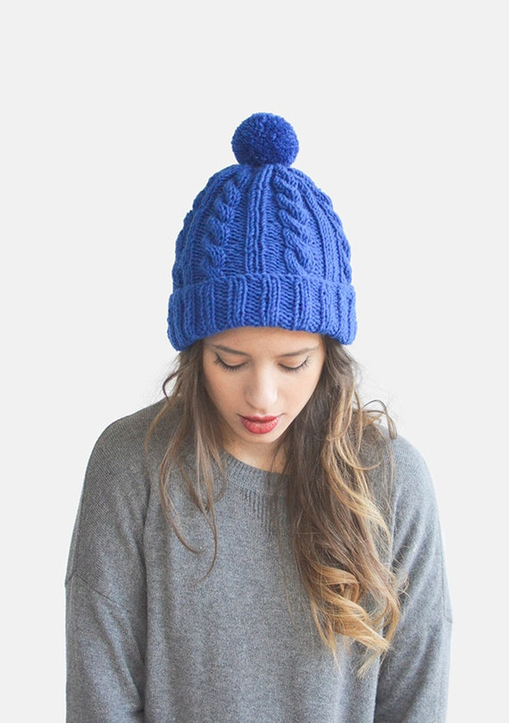 Hand Knit Beanie in Cobalt Blue Womens Winter Hat Knit Pom  58143b0bc007