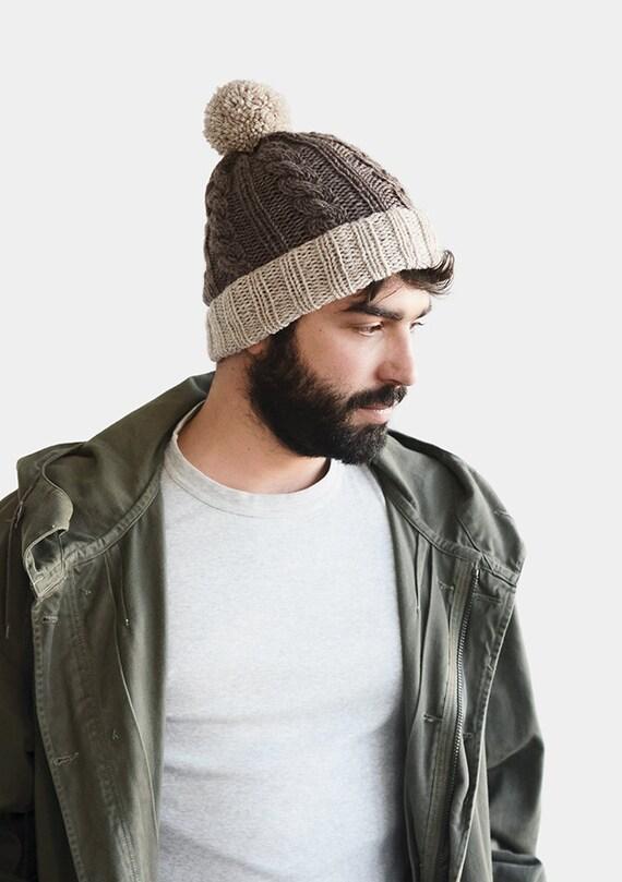 Homme Femme Bonnet Pompon Chapeau Slouch Pom Pom Fairisle Ski chapeau d/'hiver 2 Couleurs