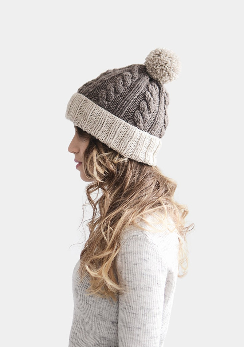 ad5f6006fcf Customized Beanie Color Block Beanie in Light Ecru and Light