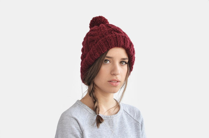 757211acf Hand Knit Beanie in Burgundy, Cable Knit Womens Winter Hat with Pom Pom,  Warm Bobble Hat, Mens Wool Hat, Custom Color — The Classic Cable