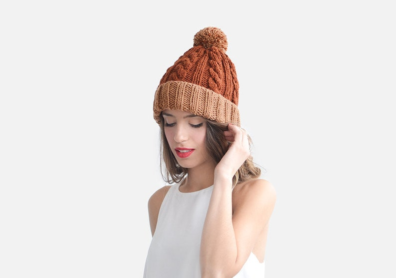 857c3627a Color Block Beanie in Copper and Burnt Orange, Customizable Hat, Womens  Winter Hat, Two Tone Beanie, Custom Bobble Hat
