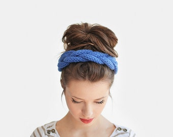 Chunky Hand Knit Headband, Blue Braid Hair Accessory, Knitted Wool Headbands, Custom Colours / Hand knitted