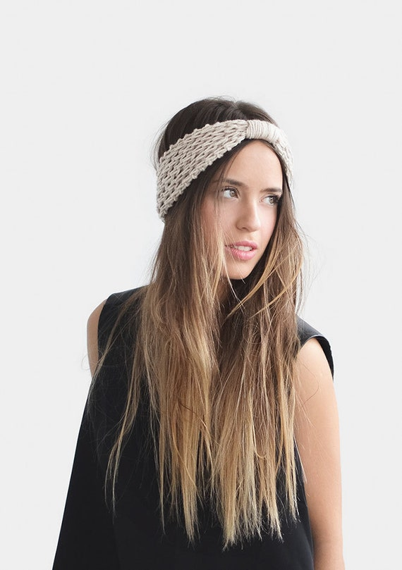 Turban Headband in Light Oatmeal Womens Ear Warmers Chunky  b5f8acc11c5