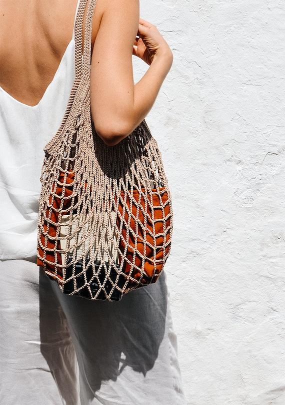 Sac de marché au crochet sac beige de filet de coton sac de | Etsy