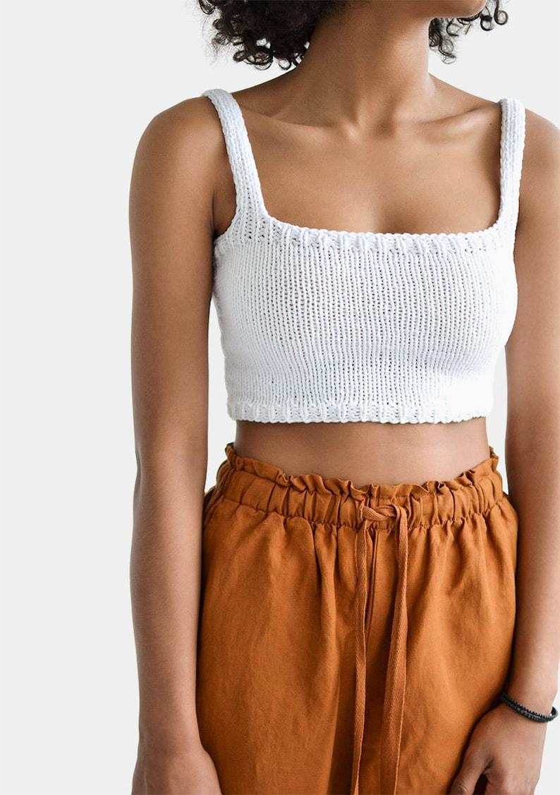Square Neck Crop Top Minimal Knit Top Knit Bralette Top image 0