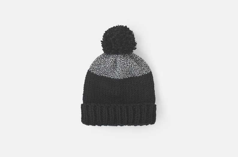 4f93938c6ad Chunky Knit Hat with Huge Pom Pom Color Block Beanie