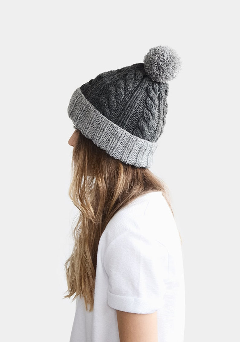 979ec08e79a Custom Knit Hat Hand Knit Beanie Color Block Hat Grey
