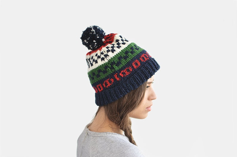 READY TO SHIP   Fair Isle Ski Beanie Hat with Pom-Pom Beanies  0e2c4f0bf257